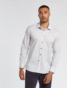 L+L Long-Sleeve Honeycomb Shirt, White product photo