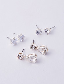Whistle Diamante Earring Set, 3-Pair Pack, Silver product photo
