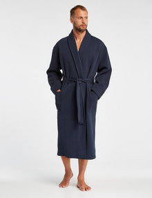 Mazzoni Cotton Blend Knitted Robe, Navy product photo