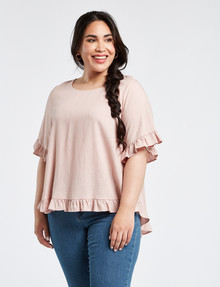 Wild Child Frill Trim Top, Blush product photo