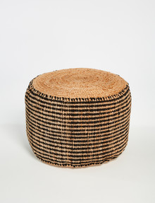 M&Co Two Tone Cylinder Jute Pouf product photo