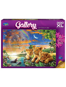 Puzzles Lion Cubs On The Lake XL Jigsaw Puzzle, 300 Piece product photo