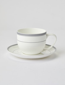 Amy Piper Leigh Cup & Saucer, 250ml, White & Grey product photo