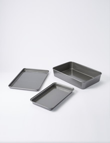 MasterPro Roast & Crisp Bakeware Set, 3-Piece, Black product photo