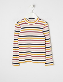 Mac & Ellie Stripe Ribbed Long-Sleeve Tee product photo