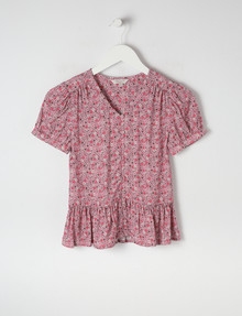 Switch Floral Button-Front Peplum Top, Lilac product photo