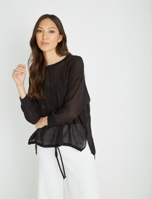 Mineral Alfie Drawstring Woven Tee, Black product photo