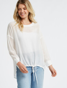 Mineral Alfie Drawstring Woven Tee, Off-White product photo