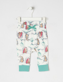 Teeny Weeny Fox & Bear Pant, White & Teal product photo