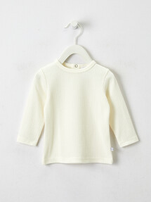 Teeny Weeny Rib Long-Sleeve Tee, Vanilla product photo