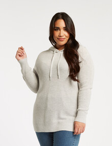North South Curve Fashion Hoodie, Grey product photo