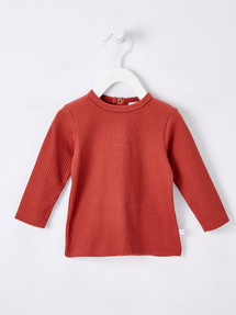 Teeny Weeny Rib Long-Sleeve Tee, Red Brick product photo