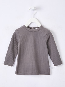 Teeny Weeny Rib Long-Sleeve Tee, Charcoal product photo