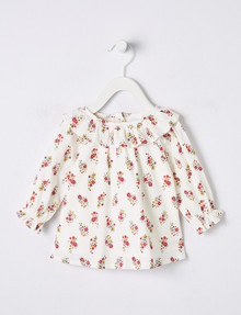 Teeny Weeny Ruffle Ditsy Floral Blouse, White product photo