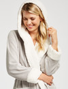 Zest Sleep Sherpa Lined Coral Fleece Robe, Silver product photo  THUMBNAIL