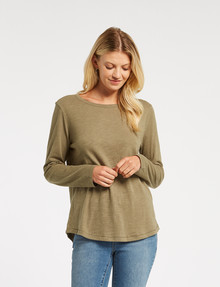 Zest Organic Cotton Long-Sleeve Tee, Khaki product photo