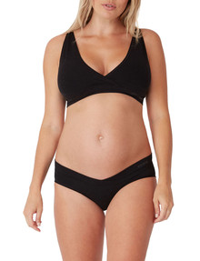 Ambra Maternity Bamboo Cross Over Crop, Charcoal Marle product photo