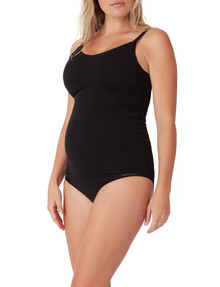 Ambra Maternity Bamboo Singlet, Charcoal Marle product photo