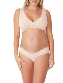 Ambra Maternity Bamboo Cross Over Crop, Putty Pink product photo
