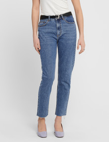 ONLY Emily High-Waist Straight Raw-Hem Jean, Dark Blue product photo