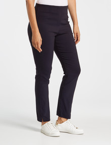 Ella J Pull-On Slim-Leg Decorative Pocket Bengaline Pant, Navy product photo