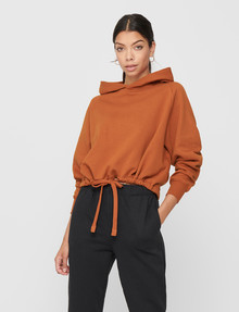 ONLY Nilla Boxy Long Sleeve Hoodie, Umber product photo