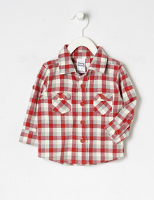 Teeny Weeny Flannel Long-Sleeve Shirt, Red & White product photo