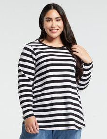 Studio Curve Organic Cotton Long-Sleeve Tee, Black Stripe product photo