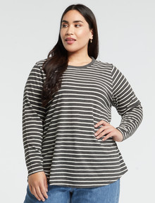 Studio Curve Organic Cotton Long-Sleeve Tee, Charcoal Stripe product photo