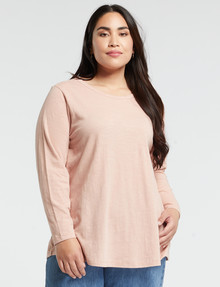 Studio Curve Organic Cotton Long-Sleeve Tee, Blush product photo