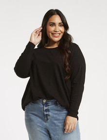Studio Curve Organic Cotton Long-Sleeve Tee, Black product photo