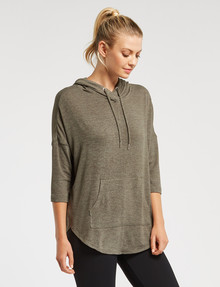 Superfit 3/4 Sleeve Hoody Top, Khaki product photo