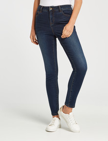 Denim Republic Shorter Length Stretch Skinny Jean, Blue Wash product photo