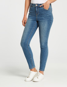 Denim Republic Shorter Length Stretch Skinny Jean, Mid Blue Wash product photo