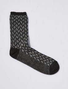 Levante Wool-Blend Crew Sock, Cross Hatch, Black & Grey Marle product photo