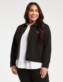 Denim Republic Curve Denim Trucker Jacket, Black Wash product photo