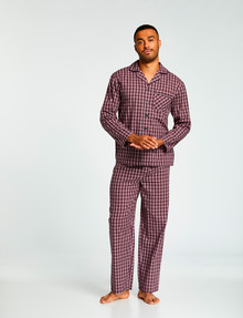 Chisel Woven Check Long PJ Set, Navy/Red product photo