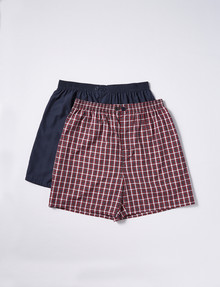 Chisel Check/Plain Sleep Shorts, 2-Pack, Navy/Red product photo