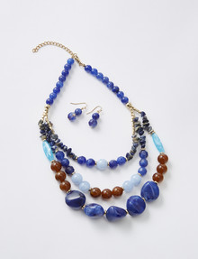 Whistle Chunky Bead Necklace & Earring Set, Blue product photo