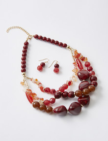 Whistle Chunky Bead Necklace & Earring Set, Red product photo