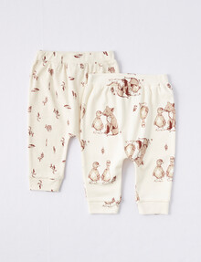 Little Bundle Little Fox & Friend Pants 2-Pack, Oat Marle product photo