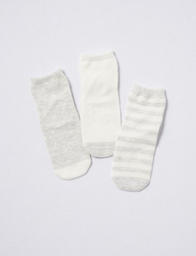 Simon De Winter Crew Socks, 3-Pack, Grey Marle & White product photo
