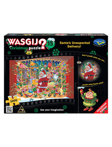 Wasgij Christmas 15, 1000-Piece Jigsaw, Santa's Unexpected Delivery! product photo