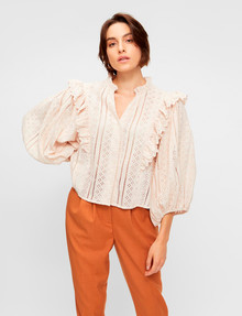 Y.A.S Tulip 3/4 Puff Sleeve Shirt, Whisper Pink product photo