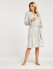 Zest Sleep Coral Fleece Robe, Grey Spot product photo