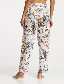 Whistle Sleep Leaf Print Cotton-Sateen Curved-Hem Pant, Blush product photo