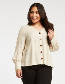 Studio Curve Button Through Long-Sleeve Blouse, Oatmeal product photo