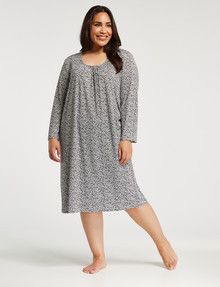 Ruby & Bloom Plus Soft-Touch Long-Sleeve Scoop Neck Nightie, Navy Daisy product photo