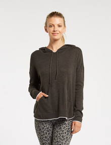 Superfit Knit Tipped Hoodie Jumper, Charcoal/White product photo