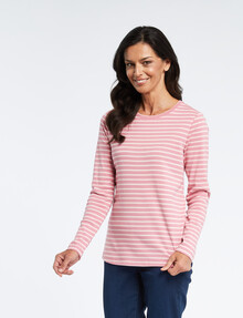 Ella J Stripe Crew-Neck Long-Sleeve Tee, Dusky Pink product photo